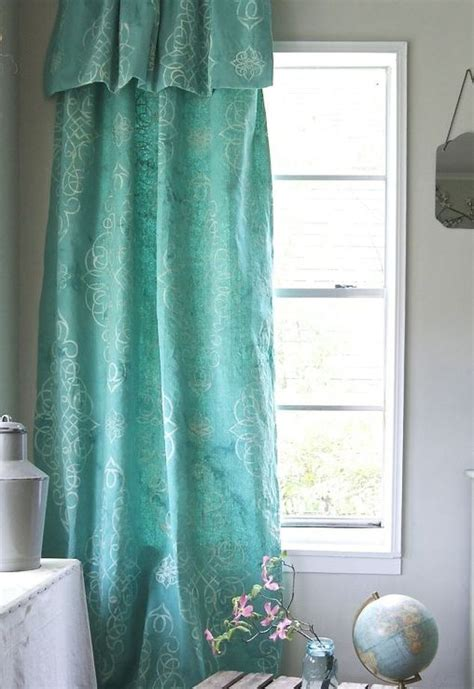 paint your own curtains stencil dye your own drop cloth curtain hometalk