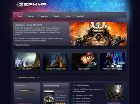 Theme Drupal Gaming | zephyr drupal theme drupal transparent theme drupal 6