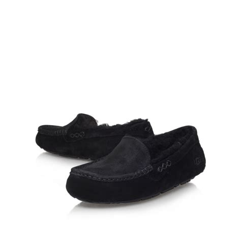 loafers for flat ugg ansley flat slip on loafer in black lyst