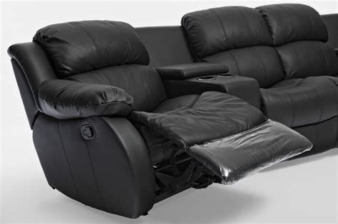 cinema recliner lounge nikki brand new black leather 4 seater home theatre lounge