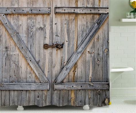 barn shower door barn door shower curtain dudeiwantthat