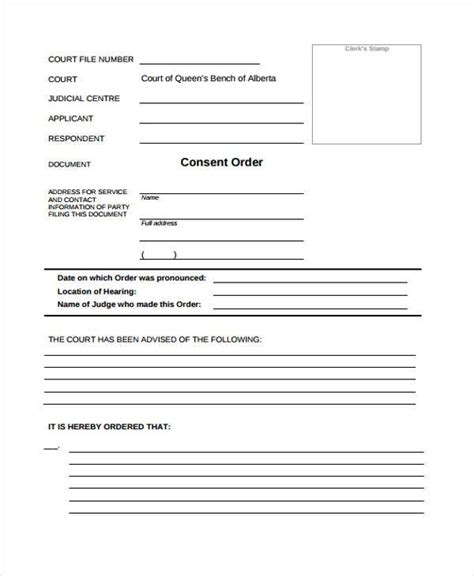 consent order form free consent form sles