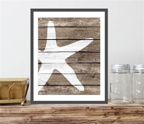 rustic nautical home decor starfish art print faux wood rustic nautical by indigoandjune