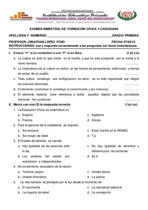 preguntas y respuestas sobre la autoestima examen bimestral de formaci 243 n c 237 vica y ciudadana
