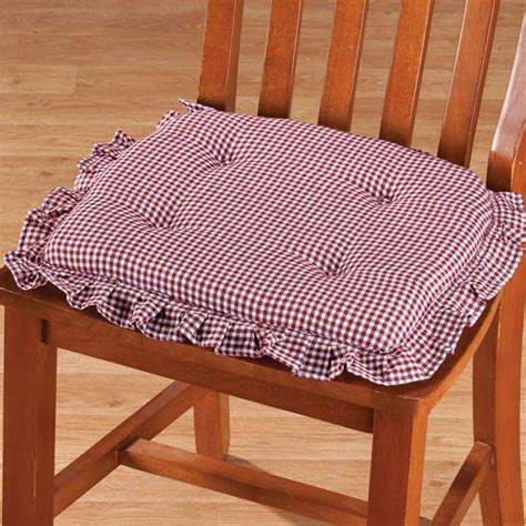 Chair Pads With Ruffles by Ruffled Gingham Chair Pad Non Slip Chair Pads Walter