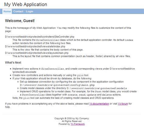 tutorial de yii framework en español first app1 yii framework en espa 241 ol