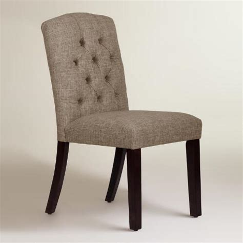linen blend tufted zoey upholstered dining chair world