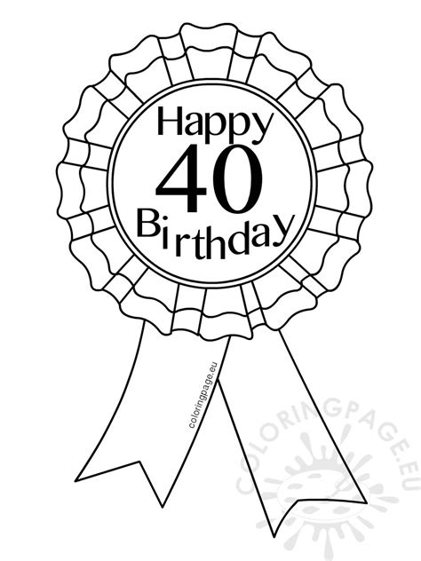 40 Coloring Page by Printable Award Ribbon 40 Birthday Coloring Page