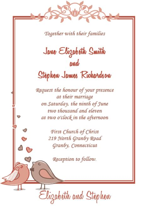 printableinvitationkits com birdie couple free wedding invitation wedding invitation