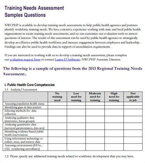 needs analysis questions template needs assessment 14 free documents in