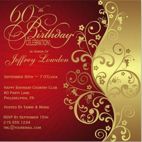 60th wedding anniversary card templates free 60th birthday invitation templates 24 free psd vector