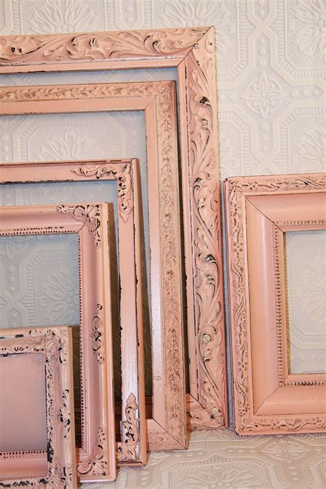 One Shabby Chic Vintage Soft Pink Hand Painted Distressed Distressed Frames Shabby Chic