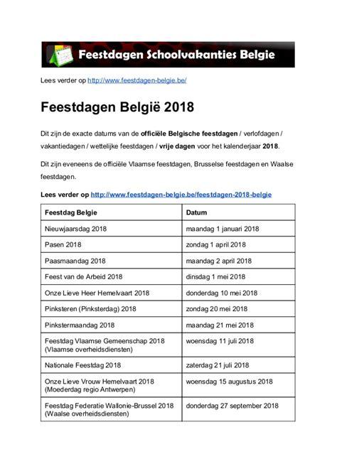 Calendar 2018 Generator Feestdagen 2018 Belgie Exacte Datums Op Kalender