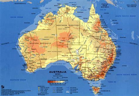 australin map maps australia physical map