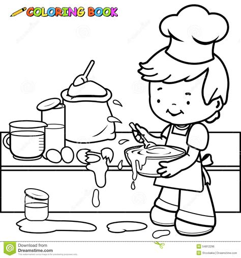 messed up coloring book pages boy cooking and making a mess coloring page stock vector