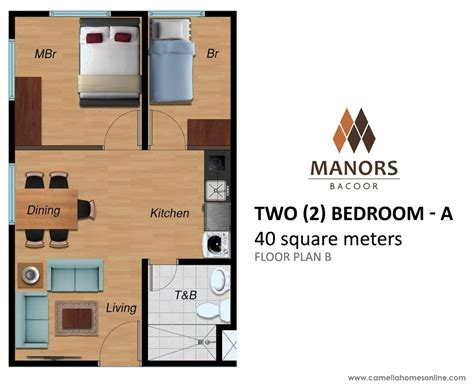 57 square meter condo camella homes manors bacoor two 2 bedroom 40 sqm