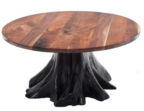 Black Walnut Dining Table With Stump Base Base Shown