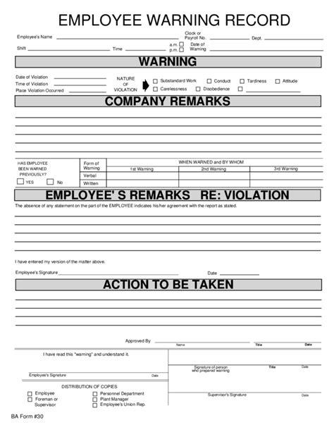 Employee Warning Record Free Download Employee Warning Template