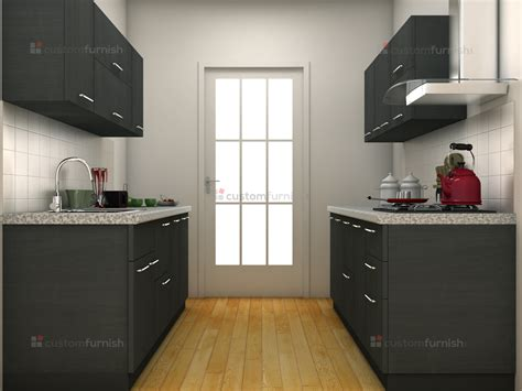 Parallel Kitchen Design Grey Modular Kitchen Design Parallel Shaped Modular