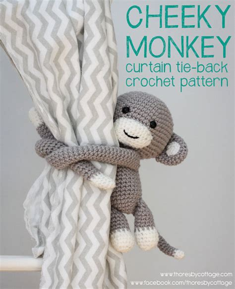 crochet curtain tie backs cheeky monkey curtain tie back crochet pattern