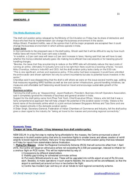 Jbims Executive Mba by Civil Aiation Policy Revised Draft Oct 15 Comments By