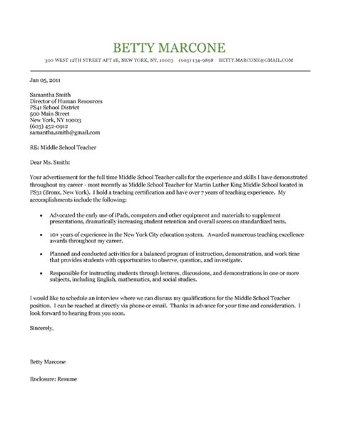 cover letter for teachers exles middle school cover letter exle cover letter