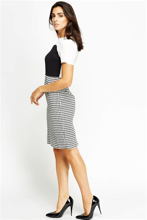 Dress Hounstood formal contrasted houndstooth dress just 163 5