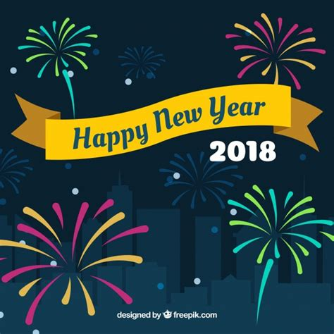 new year background free vector happy new year background 2018 with fireworks vector