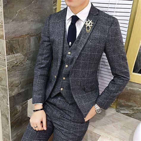 Vintage Plaid Suits 3 Piece Tweed Suits Mens Terno Dos