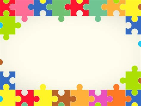 Powerpoint Templates With Borders Colourful Puzzles Powerpoint Templates Borders