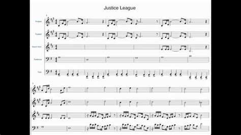 theme song chions league justice league theme brass quintet sheet music youtube
