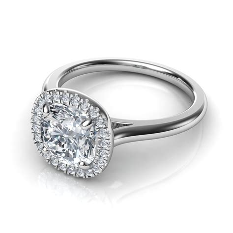 plain shank floating halo cushion cut engagement ring