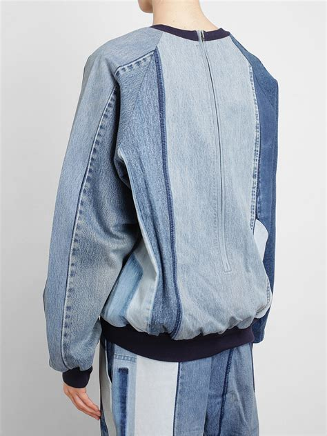 Patchwork Sweaters - ashish patchwork denim sweater in blue lyst