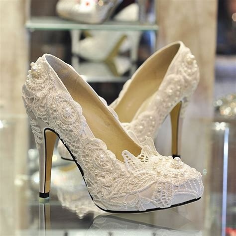 Wedding Dress Heels by Lace And Pearl Wedding White Lace Pearl S