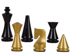 artistic modern pyramid wood chess set pieces gold black 3