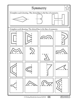 3rd grade 4th grade math worksheets lines of symmetry 2