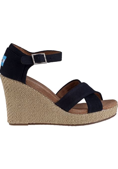 strappy wedge sandals toms strappy wedge sandal black fabric in black lyst