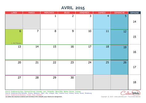 Calendrier 3 Avril 2015 Calendrier Mensuel Mois D Avril 2015 Avec Jours F 233 Ri 233 S