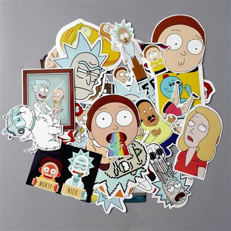 35pcs lot american drama rick and morty funny sticker