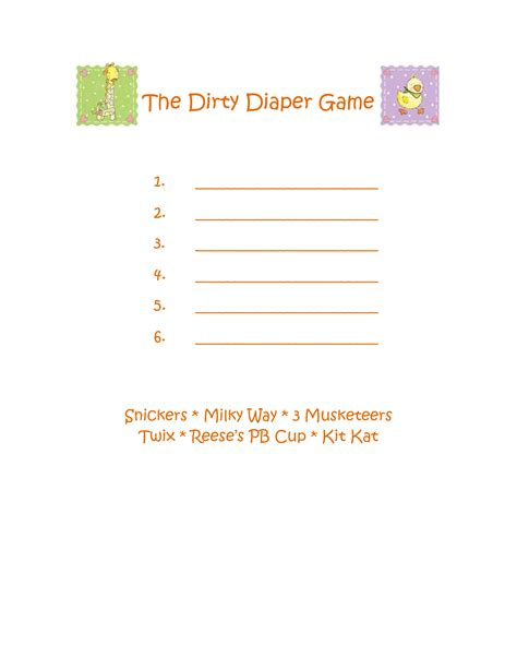 diaper template for baby shower game best photos of diaper candy baby shower game baby shower