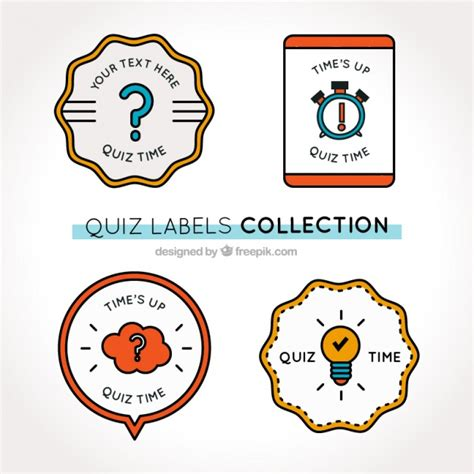 geometric pattern quiz set of four quiz labels with geometric shapes vector
