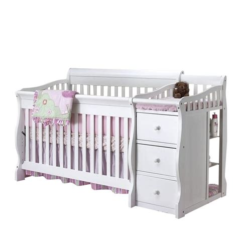 White Crib Changer Combo by Sorelle Tuscany 4 In 1 Convertible Crib And Changer Combo