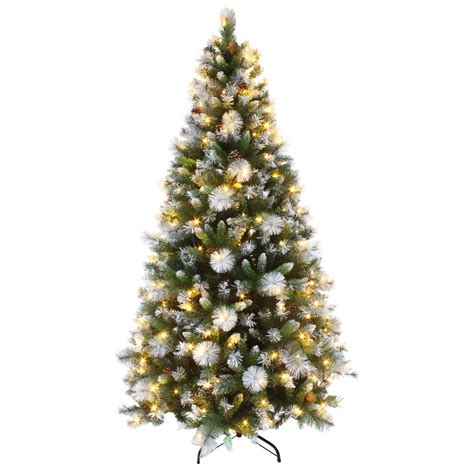 xmas trees frosted pull up luxury pre lit artificial tree led frosted tips 6ft 7ft