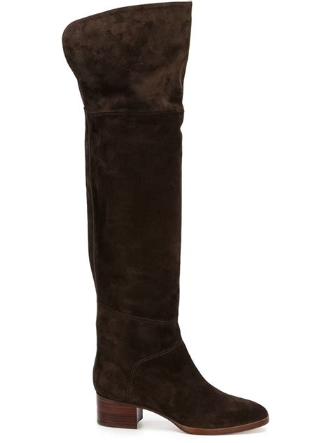 chlo 233 knee high suede boots in brown lyst