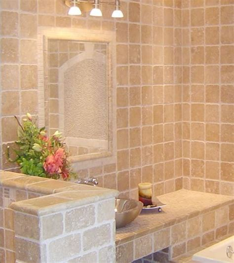 Hanging Wall Dividers by Elegant Ivory Travertine Tile Traditional Bathroom