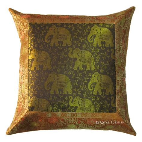 Gold Pillows Decorative by 16 Quot Gold Decorative Elephant Animal Silk Brocade Throw