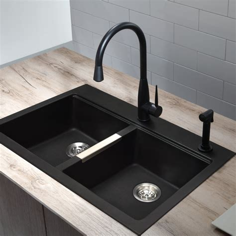 kraus kgd433b 33 1 2 inch undermount drop in double bowl