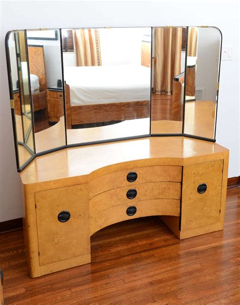 an expansive american art deco bedroom set at 1stdibs american art deco mirrored vanity and high boy at 1stdibs