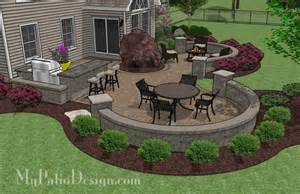 large paver patio design with grill station bar patio