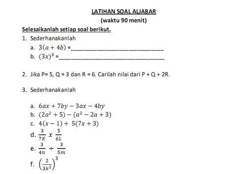 Alajabar Linear Elementer latihan soal ulangan aljabar kelas 7 made nuryadi